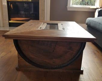 Concealment Barrel Table With Hidden Storage