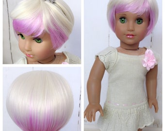 Custom 18'' American Girl Doll Short Pic a Boo Wig Fit 10.5''to 11.5'' doll head Our Generation Gotz Journey