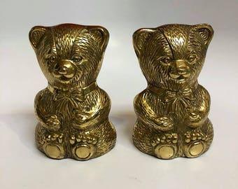 Brass Teddy Bear Children's Book Ends