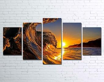 Solar Waves 5pc Wall Canvas