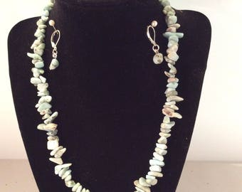 Larimar Necklace and Earrings