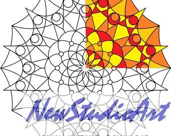 Printable Mandala Coloring Page-Art Therapy-Adult Coloring Page-Antistress-Coloring for Relaxation-Instant Digital Download - MANDALA 002