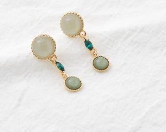greenish drop earring