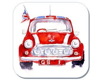 Red Mini GB 1 - Mini Car Coaster (Corked Back). From an original Sheila Gill Watercolour Painting
