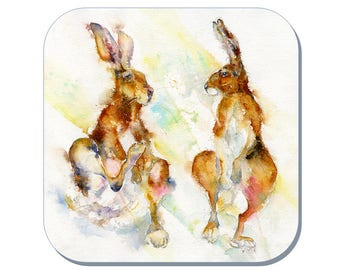Itchy & Scratchy - Hares Coaster (Corked Back). From an original Sheila Gill Watercolour Painting