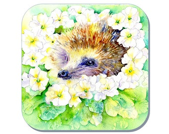 Primrose - Hedgehog Coaster (Corked Back). From an original Sheila Gill Watercolour Painting