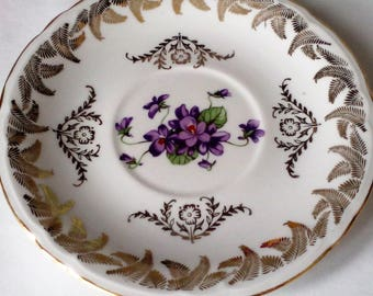Purple decor pattern porcelain plate gold