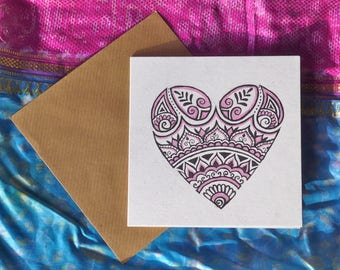 Happy mother's day  love heart greeting card hand drawn illustration henna style