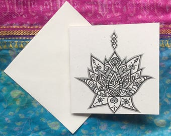 Hand drawn lotus flower illustration greetings card henna style silver and black ink