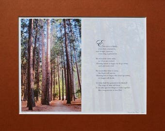 Unique Original Artwork by Bart Price, Photo Poem of Forest, Artist Signed and Numbered, Matted, Photography, Poetry, Wall Art Print