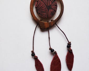 Necklace wood, wood jewelry catches dreams, dream catcher, jewelery, wax, laminated wood glued, recycled