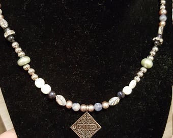 Pearl beaded Faith Necklace
