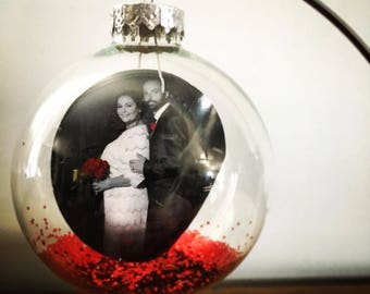 Glass Photo Ornament- Couples First Christmas