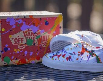 Kids Custom Splatter Paint Skate Shoes