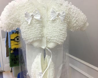 Hand knitted loopy cardigan and bonnet set in white