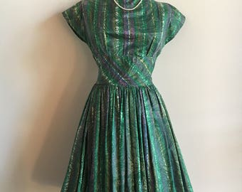 Holiday Dress, Vintage Green, Patterned Party Dress with Lilac, Yellow, and White Accents