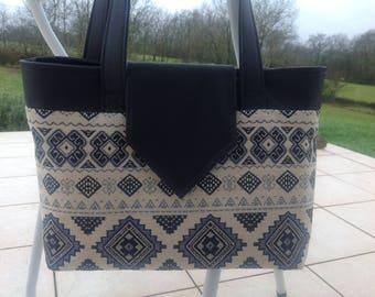 Handbag Navy Blue and white