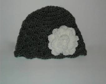 Kids beanie with flower, beanie with flower, winter hat, Crochet beanie, girls beanie with flower, hat with flower, beanie,gray hat, hat