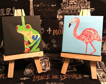 Tiny Frog and flamingo Paintings on Canvas