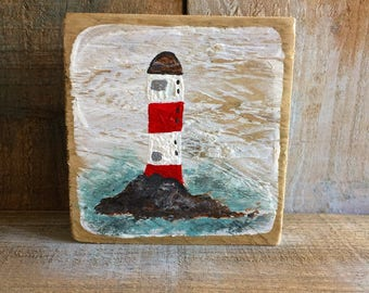 Lighthouse, acrylic on driftwood, nautical art