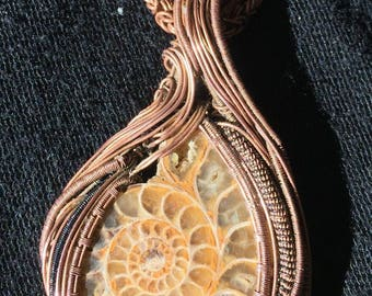 Ammonite fossil wrapped in copper .