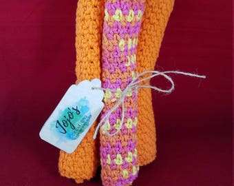 Crochet washcloths, kitchen dishcloths, cotton washcloths, sunburst colors, pink, yellow, and orange washcloths