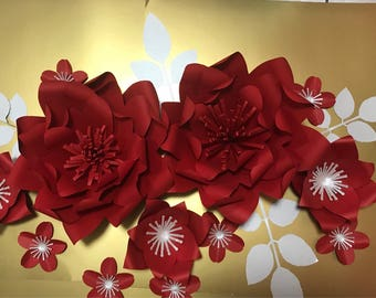 Red paper flowers