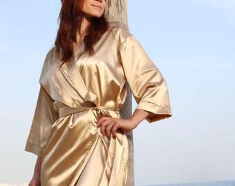 Satin Bridesmaid Robe, Bridal Party Robes, Customized Satin Robe, Bridesmaid Gift , Set of Bridesmaid Robe, Gold Satin Robe, Bridal Robe
