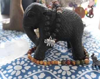 Elephant mala & lava bead necklace