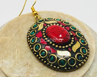 Red Marble Ellipse, gold jewelry, handmade jewelry, gold dangle drops, ethnic earrings, gold dangle