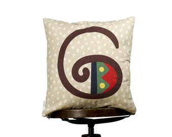 "G - letter Pillow, bright color pillow cover, 16x16"", cotton cushion art cover, beige spot background, Multi-Coloured, Child-safe printing."