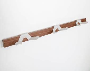 Clothes rack, coat rack, clothes rack, stand, modern design, wooden and metal coat hook, entryway, simple
