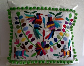 Throw Pillow with Otomi Embroidery