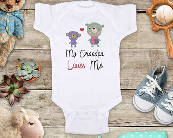My Grandpa Loves Me bears - or Aunt Uncle Grandma Godfather Short sleeve Baby bodysuit Toddler Youth Shirt - baby shower gift surprise