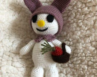 Handmade crochet bunny keychain