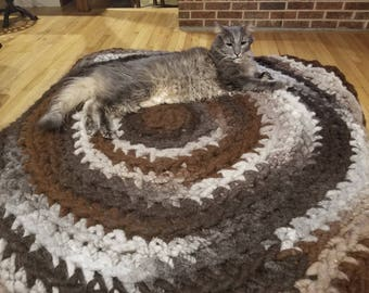 Alpaca Rug Circular Area Rug Super Chunky Crochet Rug