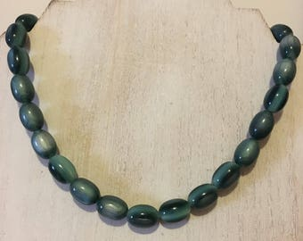 Vintage-Style Emerald Swirl Moonglow Beaded Necklace (18 inches) - Perfect for St. Patrick's Day