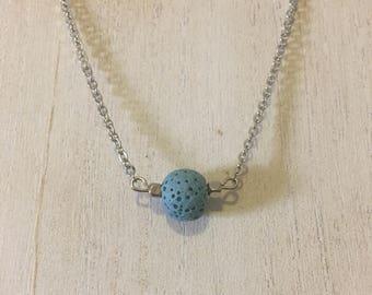 Cornflower Blue  Lava Stone Diffuser Necklace