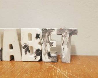 Black And white marbling effect cement alphabet/ornaments/decor - comes in a set .