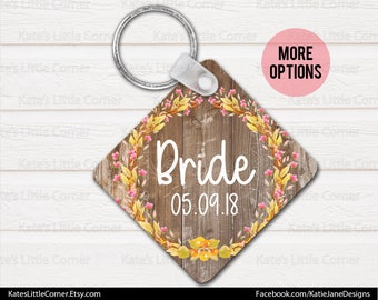 Monogram Keychain, Wedding Party Gift, Personalized Keychain, Square Keychain, Watercolor Flowers, Luggage Tag, Bag Tag,