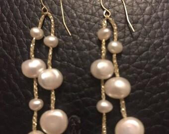 14kt gold Fresh water pearls earrings
