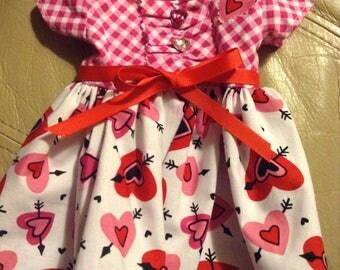 "18"" DOLL DRESS Valentine Print Cotton Blend Short Sleeve USA Handmade Smoke-Free matching hairband"