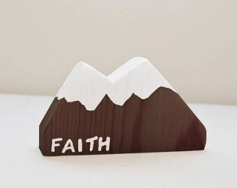 Wood Mountain Faith Decor | Matthew 17:20 | Move Mountains | Faith Gifts | Desktop Decor | Wood Office Decor | Christian Gifts | Bible Gifts