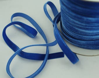3/8 inch Electric Blue Velveteen Ribbon by the Yard / 10 MM Velveteen Ribbon / Velvet / Electric Blue / ER-V352