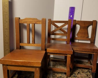 3 Beautiful handmade wooden Doll chairs each different!