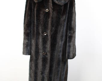 Fabulous Dark Brown Vintage Faux Fur Coat by ASTRAKA of LONDON Size 12-14