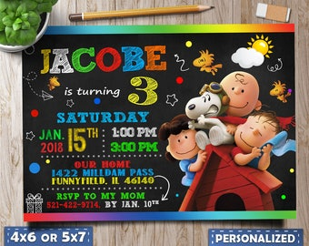 Snoopy Birthday Invitation,Snoopy Digital Birthday Invitation, Peanuts Invite, Snoopy Party, Peanuts Invitation, Snoopy Invitation, Snoopy