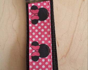 Wristlet Key Fob - Minnie Polka Dot