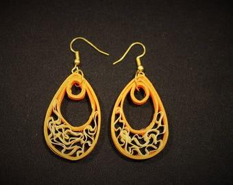 Rolled Paper Earrings - Orange and Beige Paisley Raindrop