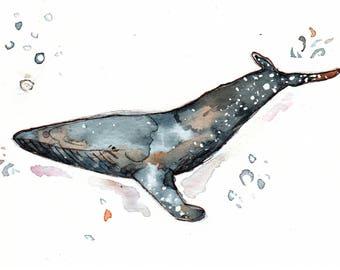 """Original Blue Whale Watercolor 7x5"""" Print"""